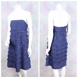 Gap Blue Silk Cotton Ruffle Strapless Dress